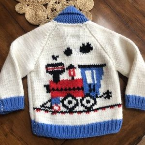 Vintage Handmade Kids Cardigan Sweater Super Thick